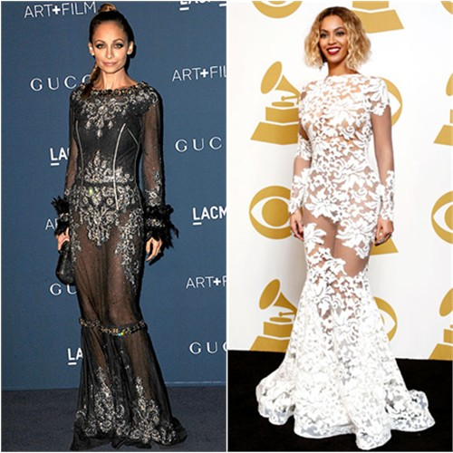 Nicole's gown by Dolce & Gabbana, purse by House of Harlow; Beyoncé's gown by Michael Costello