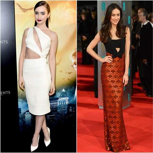 Lily's dress by Cushnie et Ochs, shoes by Giuseppe Zanotti; Olga's gown by Burberry