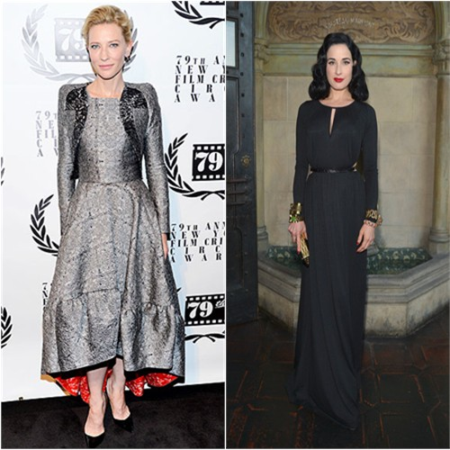 Cate's jacket and dress by Antonio Berardi, shoes by Christian Louboutin; Dita's gown by Rachel Pally