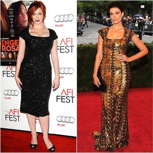 Christina Hendricks and Jessica Paré in L'Wren Scott