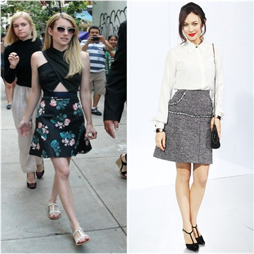 Emma's top by Roksanda Ilincic, skirt by Sachin + Babi, sunglasses by Garret Leight; Olga's top and skirt by Chanel