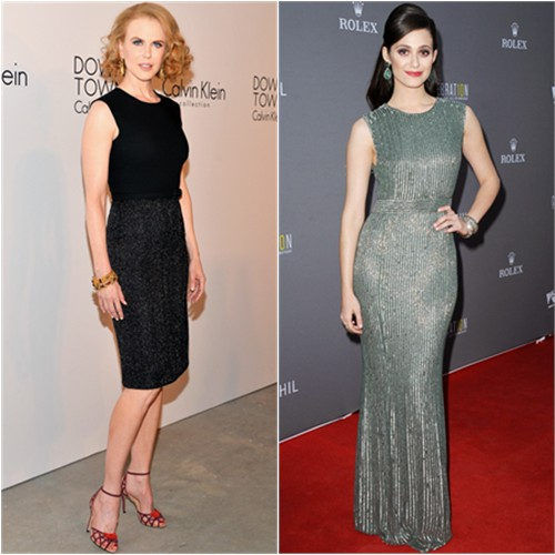 Nicole's dress by Calvin Klein; Emmy's gown by Jenny Packham