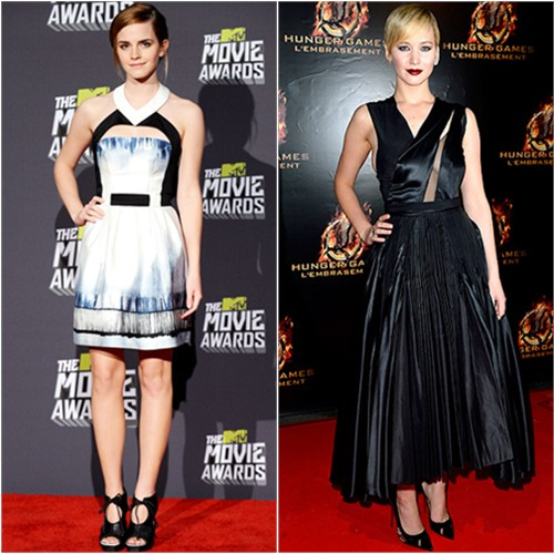 Emma's dress by Maxime Simoens, shoes by Proenza Schouler; Jennifer's dress by Christian Dior, shoes by Brian Atwood