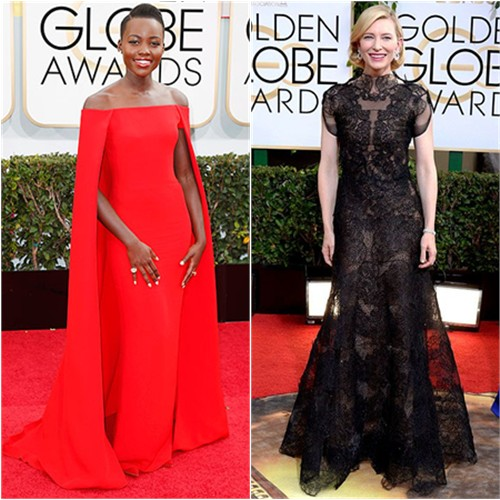 Lupita's gown by Ralph Lauren; Cate's gown by Armani Privé