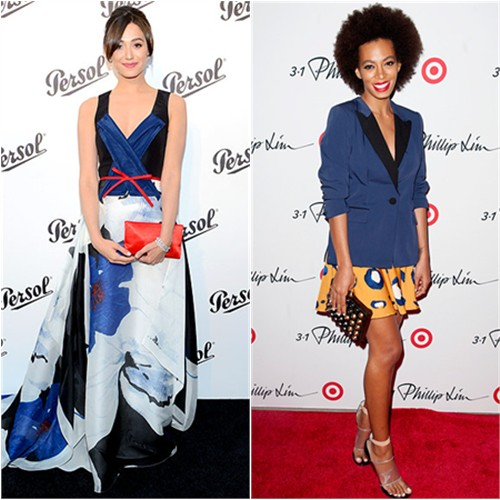 Emmy's gown and purse by Carolina Herrera; Solange's jacket and skirt by 3.1 Phillip Lim, purse by Fendi, shoes by Givenchy