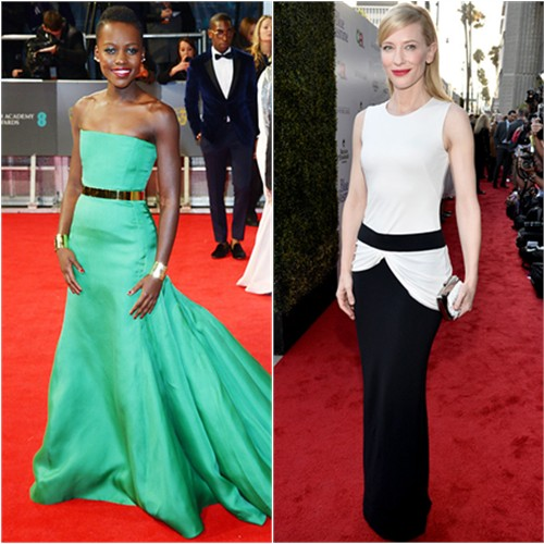 Lupita's gown by Christian Dior; Cate's gown by Alexander McQueen, purse by Roger Vivier