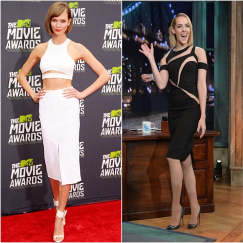 Karlie's top and skirt by Cushnie et Ochs, shoes by Gucci; Jena's dress by Mikael D, shoes by Christian Louboutin