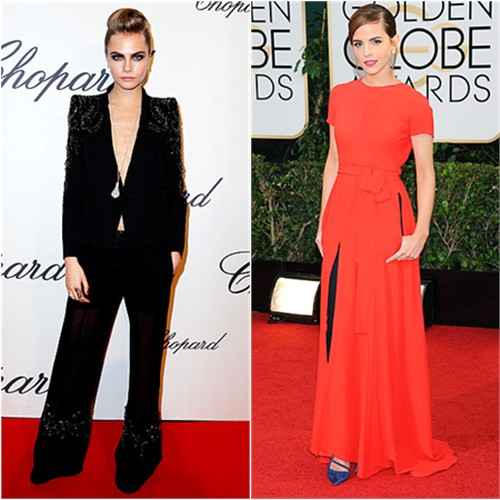 Cara's suit by Roberto Cavalli; Emma's gown and pants by Christian Dior, shoes by Roger Vivier