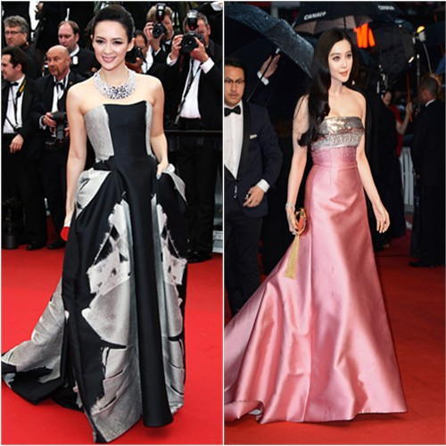 Zhang's gown by Carolina Herrera, purse by Jimmy Choo; Fan's gown and purse by Louis Vuitton