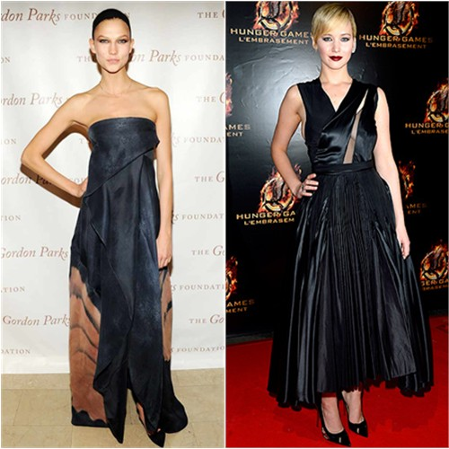 Karlie's gown by Donna Karan; Jennifer's dress by Christian Dior, shoes by Christian Louboutin