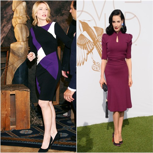 Cate's dress by Fausto Puglisi; Dita's dress by Carolina Herrera, purse by Corto Moltedo, shoes by Christian Louboutin