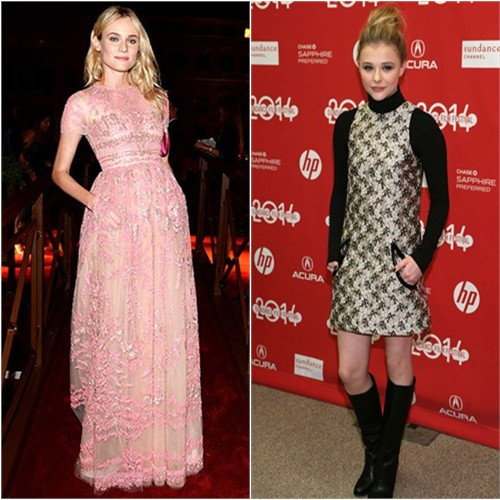 Diane's gown by Valentino; Chloë's dress by Christopher Kane