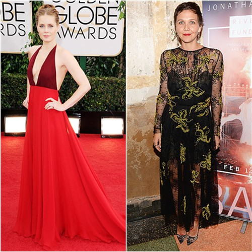 Amy's gown by Valentino; Maggie's dress by Prada, shoes by Manolo Blahnik
