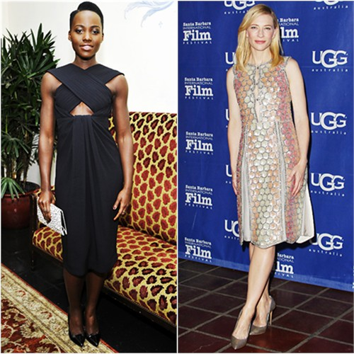 Lupita's dress, purse, and shoes by Proenza Schouler; Cate's dress by Maison Martin Margiela, shoes by Casadei