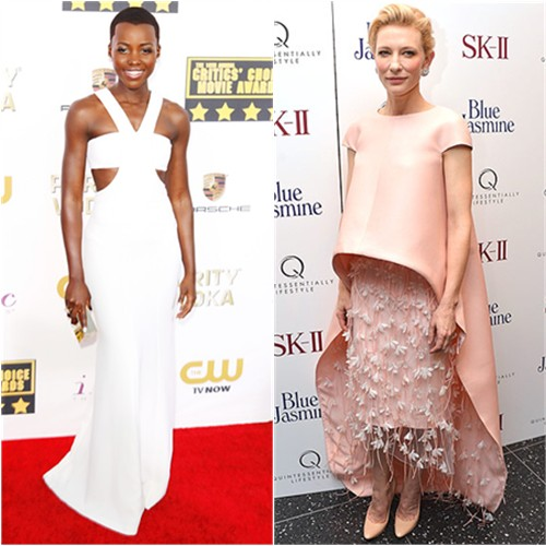 Lupita's gown and purse by Calvin Klein; Cate's gown and shoes by Balenciaga