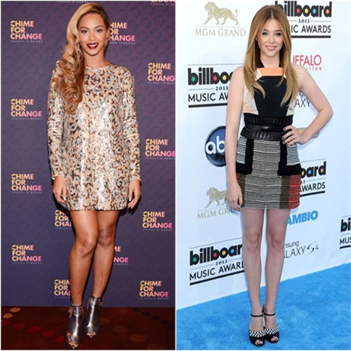 Beyoncé's dress and shoes by Gucci; Chloë's dress and shoes by Fendi