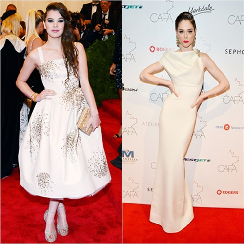 Hailee's dress by Donna Karan, purse and shoes by Jimmy Choo; Coco's gown by DSquared2