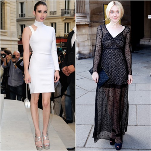 Emma's dress by Versace; Dakota's gown, purse, and shoes by Louis Vuitton