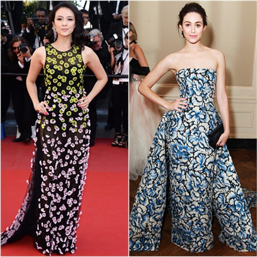 Zhang's gown by Christian Dior; Emmy's gown by Carolina Herrera