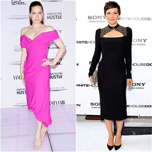 Amy's dress by Vivienne Westwood, shoes by Christian Louboutin; Maggie's dress by Alexander McQueen, purse by Anndra Neen, shoes by Casadei