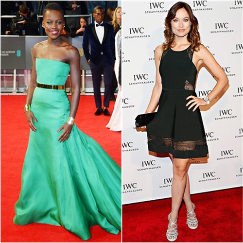 Lupita's gown by Christian Dior; Olivia's dress by A.L.C., shoes by Tabitha Simmons