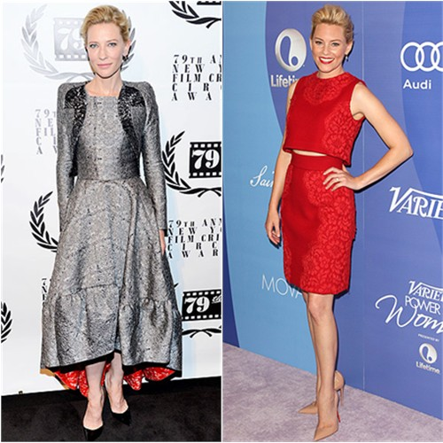 Cate's jacket and dress by Antonio Berardi, shoes by Christian Louboutin; Elizabeth's top and skirt by Dolce & Gabbana, shoes by Christian Louboutin