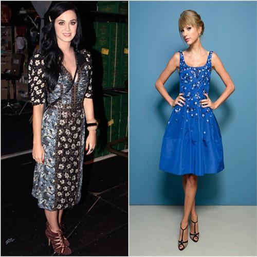 Katy's dress by Bottega Veneta, purse by Cline, shoes by Bionda Castana; Taylor's dress by Oscar de la Renta, shoes by Christian Louboutin