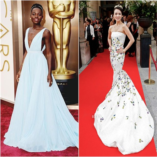Lupita's gown by Prada; Zhang's gown by Giambattista Valli