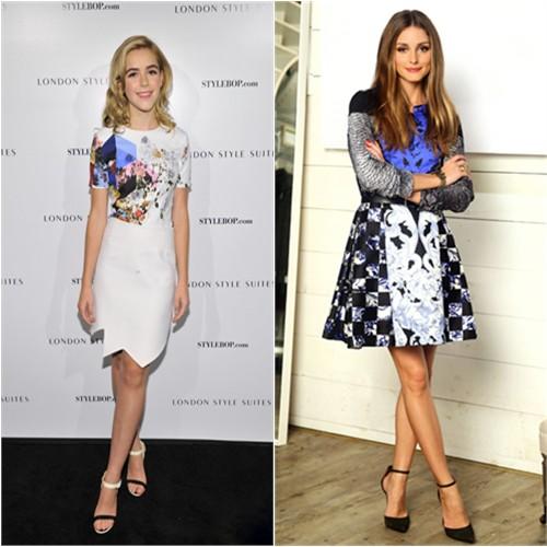 Kiernan's dress by Preen; Olivia's dress by Tibi, blouse by Rebecca Taylor, shoes by Schutz