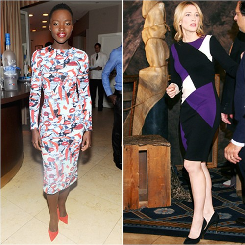 Lupita's dress by Jonathan Cohen; Cate's dress by Fausto Puglisi