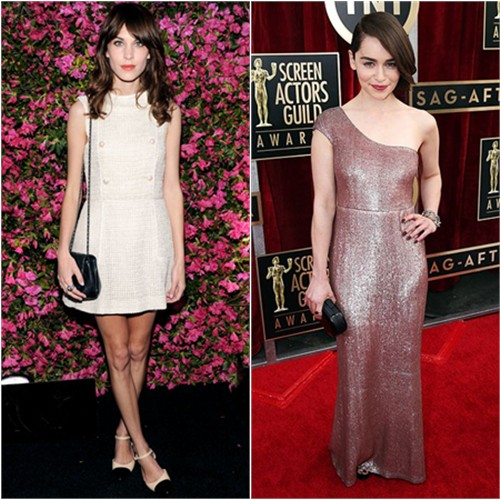 Alexa's dress, purse, and shoes by Chanel; Emilia's gown by Calvin Klein, purse by Rauwolf