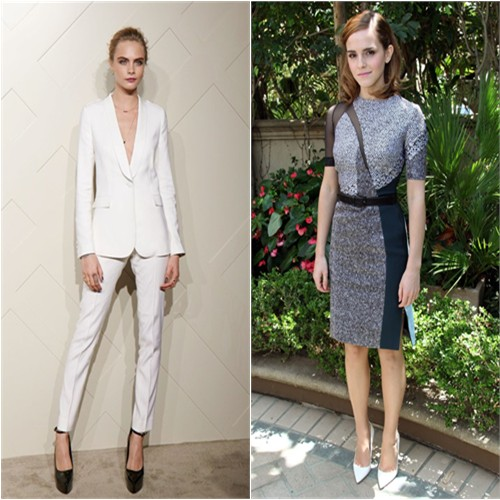 Cara's suit by Burberry; Emma's dress by Antonio Berardi