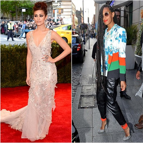 Emmy's gown by Donna Karan; Solange's jacket, blouse, and pants by Etro, shoes by Pierre Hardy