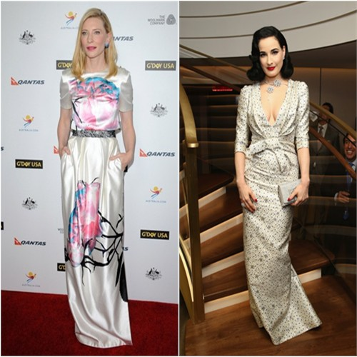 Cate's gown by Prabal Gurung; Dita's gown by Carolina Herrera