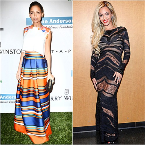 Nicole's top and skirt by Alberta Ferretti; Beyoncé's gown by Roberto Cavalli