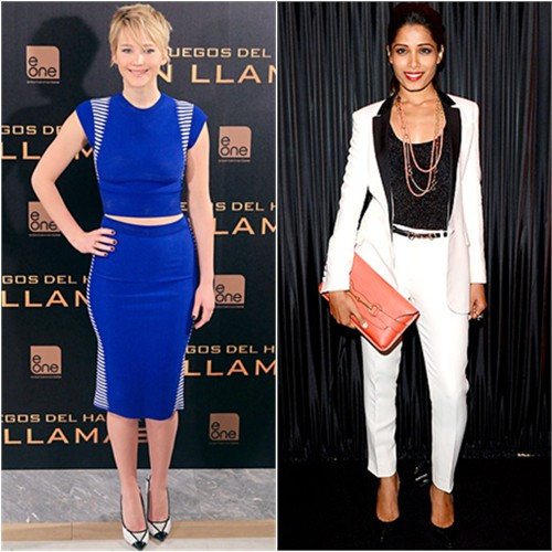 Jennifer's top and skirt by Alexander McQueen, shoes by Jimmy Choo; Freida's suit  and purse by Gucci