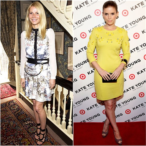 Gwyneth's top, skirt, and belt by Prabal Gurung, shoes by Tom Ford; Kate's dress by Kate Young for Target, shoes by Brian Atwood