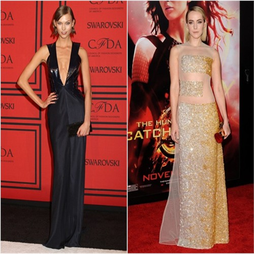 Karlie's gown by Cushnie et Ochs; Jena's gown by Nicholas Oakwell, purse by Jimmy Choo
