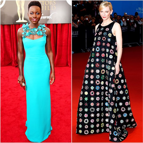 Lupita's gown by Gucci; Cate's gown by Christian Dior