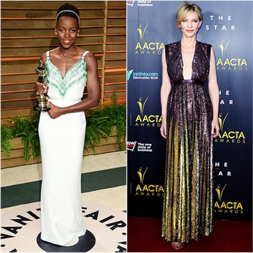 Lupita's gown by Miu Miu; Cate's gown by Givenchy