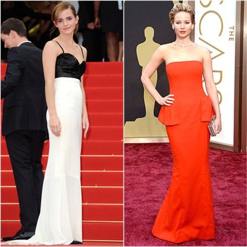 Emma's gown by Chanel; Jennifer's gown by Christian Dior, purse by Salvatore Ferragamo