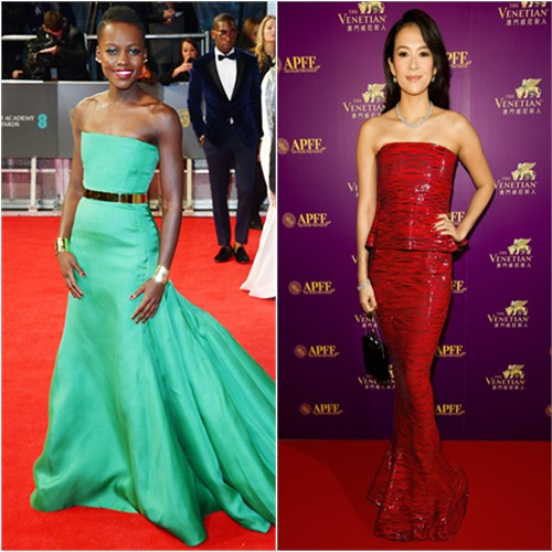 Lupita's gown by Christian Dior; Zhang's gown by Armani Priv, purse by Charlotte Olympia
