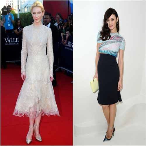 Cate's dress and shoes by Armani Priv , Olga's top, purse, and shoes by Christian Dior