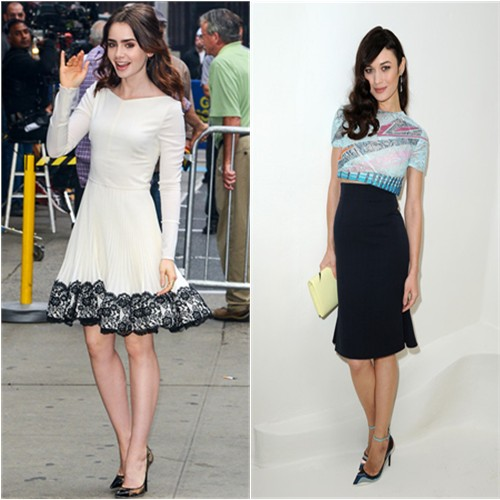 Lily's dress by Valentino, shoes by Jimmy Choo; Olga's top, purse, and shoes by Christian Dior