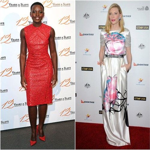 Lupita's dress by Elie Saab, shoes by Nicholas Kirkwood; Cate's gown by Prabal Gurung