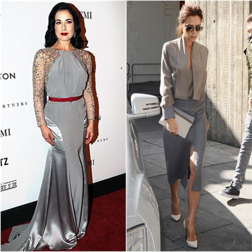 Dita's gown by Jenny Packham; Victoria's top, skirt, sunglasses and purse by Victoria Beckham, shoes by Casadei