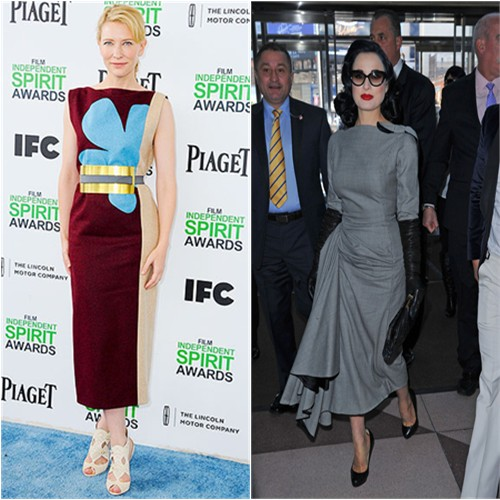 Cate's dress and belt by Roksanda Ilincic, shoes by Nicholas Kirkwood