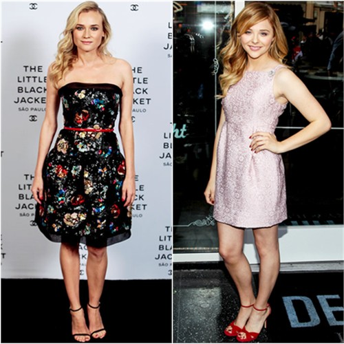 Diane's dress by Chanel, shoes by Stuart Weitzman; Chloë's dress by Dolce & Gabbana, shoes by Jimmy Choo