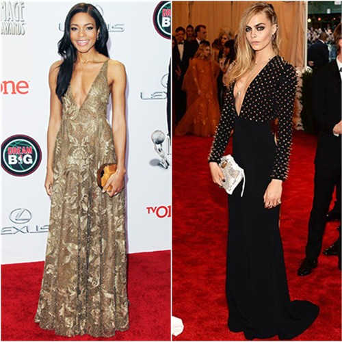 Naomie's gown by Valentino, purse by Rauwolf; Cara's gown and purse by Burberry
