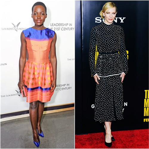 Lupita's dress by Vivienne Westwood, purse by Salvatore Ferragamo, shoes by Christian Louboutin; Cate's dress by Proenza Schouler, shoes by Giuseppe Zanotti